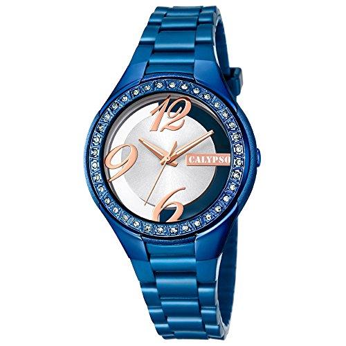 Calypso Damen Armbanduhr Fashion analog PU Armband blau Quarz Uhr Ziffernblatt silber kupfer UK5679 D