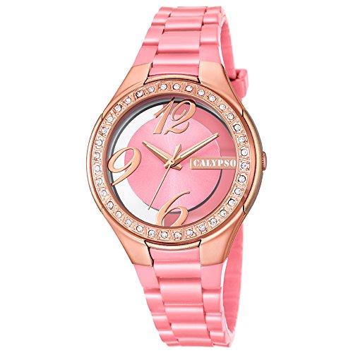 Calypso Fashion analog PU Armband rosa Quarz Uhr Ziffernblatt rosa kupfer UK5679 8