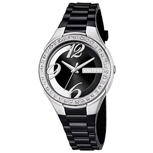 Calypso Fashion analog PU Armband schwarz Quarz Uhr Ziffernblatt schwarz UK5679 6