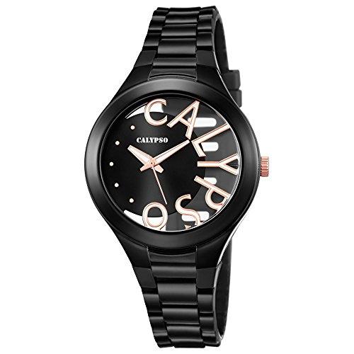 Calypso Damen Armbanduhr Fashion analog PU Armband schwarz Quarz Uhr Ziffernblatt schwarz UK5678 8