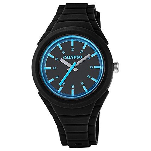 Calypso Fashion analog PU Armband schwarz Quarz Uhr Ziffernblatt weiss schwarz UK5724 8