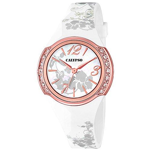 CALYPSO Fashion analog PU Armband weiss Quarz Uhr Ziffernblatt weiss rose UK5639 3
