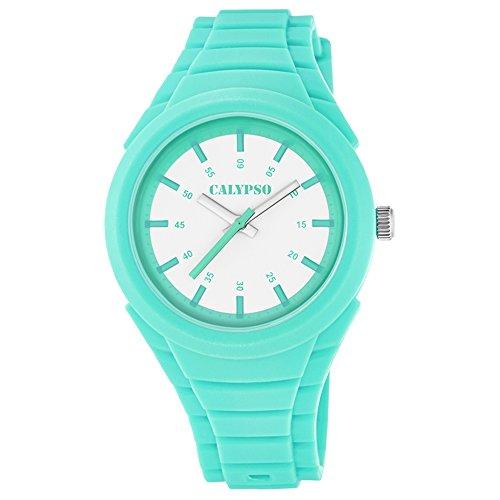 Calypso Fashion analog PU Armband tuerkisblau Jugend Uhr Ziffernblatt weiss tuerkis UK5724 1