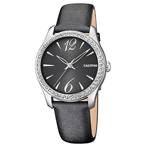 Calypso Fashion analog Leder Textil Armband anthrazit Quarz Uhr Ziffernblatt schwarz UK5717 4