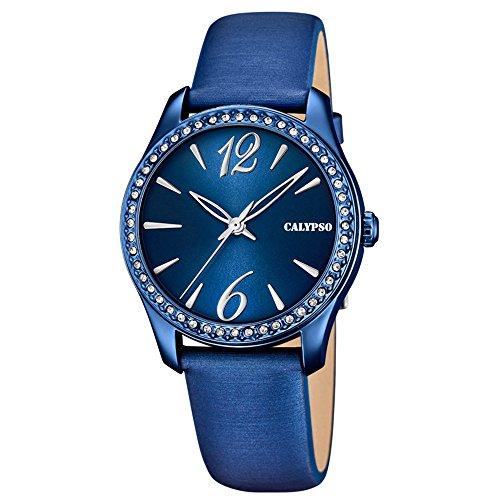Calypso Damen Armbanduhr Fashion analog Leder Textil Armband blau Quarz Uhr Ziffernblatt blau silber UK5717 6