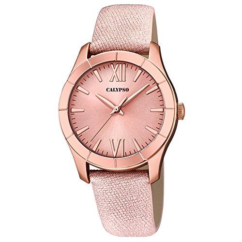 Calypso Damen Armbanduhr Fashion analog Leder Textil Armband rose Quarz Uhr Ziffernblatt rose UK5718 2