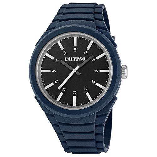 Calypso Analoge Trend PU Armband dunkelblau Quarz Uhr Ziffernblatt schwarz weiss UK5725 5