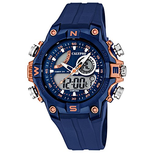 Calypso Sport analog digital PU Armband blau Quarz Uhr Ziffernblatt blau kupfer UK5586 5