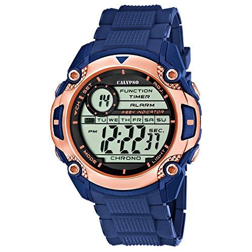 Calypso Sport digital PU Armband blau Quarz Uhr Ziffernblatt schwarz kupfer UK5577 8