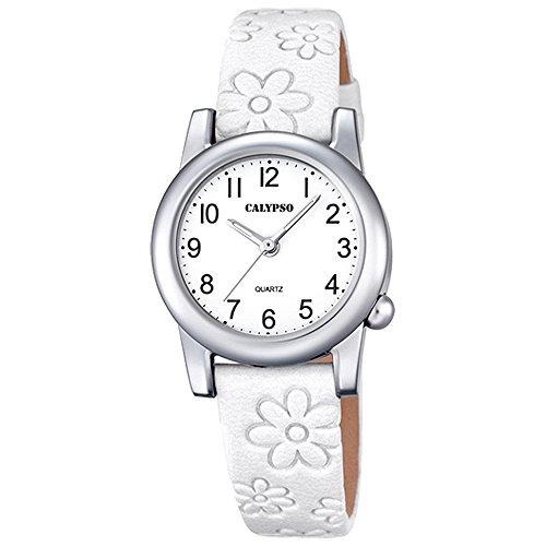 Calypso Elegant analog Leder Armband weiss Quarz Uhr Ziffernblatt weiss schwarz UK5710 1