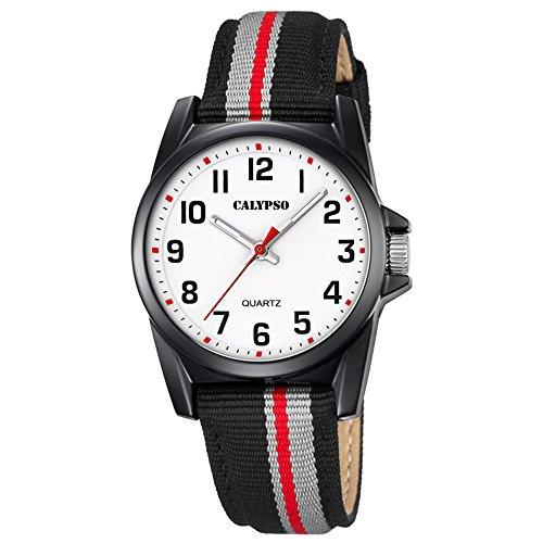 Calypso Elegant analog Leder Textil Armband schwarz grau Quarz Uhr Ziffernblatt weiss schwarz Jugenduhr UK5707 8