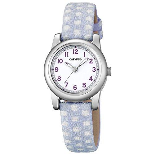Calypso Elegant analog Leder Textil Armband helllila Quarz Uhr Ziffernblatt weiss Lila UK5713 1