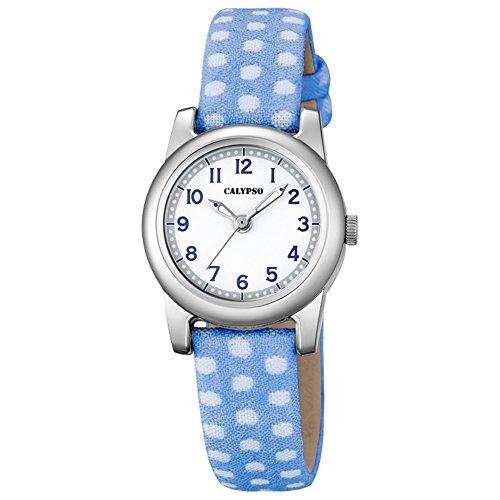 Calypso Elegant analog Leder Textil Armband blau Quarz Uhr Ziffernblatt weiss blau UK5713 4