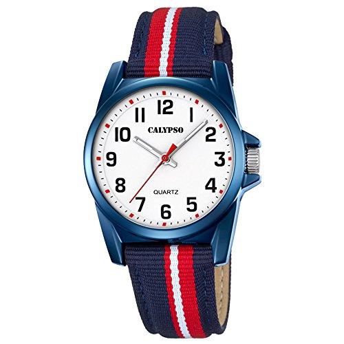 Calypso Elegant analog Leder Textil Armband blau rot Quarz Uhr Ziffernblatt weiss schwarz Jugenduhr UK5707 5