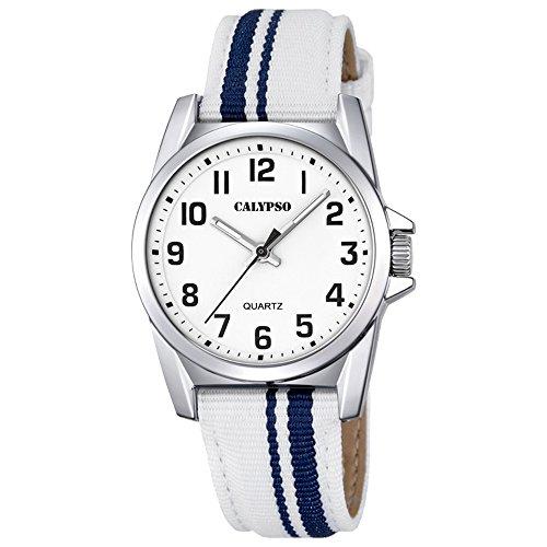 Calypso Elegant analog Leder Textil Armband weiss blau Quarz Uhr Ziffernblatt weiss schwarz UK5707 1