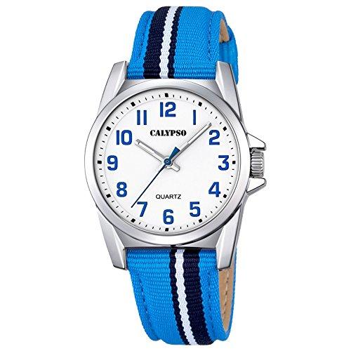 Calypso Elegant analog Leder Textil Armband hellblau blau Quarz Uhr Ziffernblatt weiss blau UK5707 2
