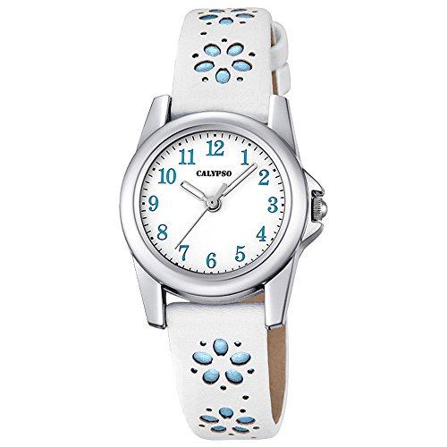 Calypso Kinder Uhr Bluemchen Elegant analog Leder Armband weiss blau Junior Quarz Uhr Maedchenuhr UK5712 4