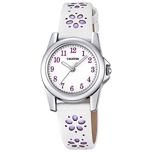 Calypso Kinder Uhr Bluemchen Elegant analog Leder Armband weiss lila Junior Quarz Uhr Maedchenuhr UK5712 3