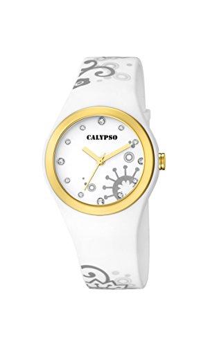 Calypso Damen Quarzuhr mit weissem Zifferblatt Analog Anzeige und Weiss Kunststoff Gurt k5631 2