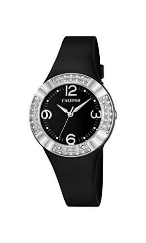 Calypso Damen-Quarzuhr mit schwarzem Zifferblatt Analog-Anzeige und Kunststoff Gurt schwarz k56594