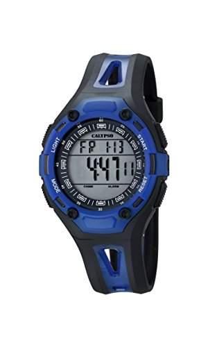 Calypso Unisex Armbanduhr Digitaluhr mit LCD Zifferblatt Digital Display und schwarz Kunststoff Gurt k56665