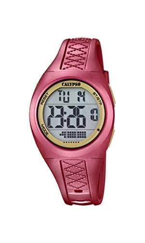 Calypso Unisex Armbanduhr Digitaluhr mit LCD Zifferblatt Digital Display und rot Kunststoff Gurt k56682