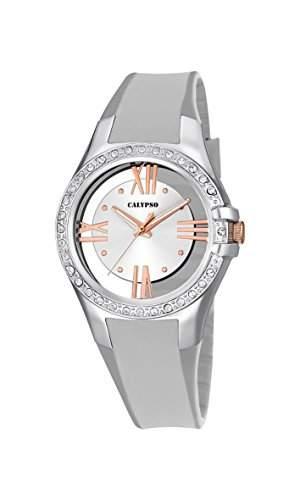 Calypso Damen Quarzuhr mit Silber Zifferblatt Analog-Anzeige und Silber Kunststoff Gurt k56801
