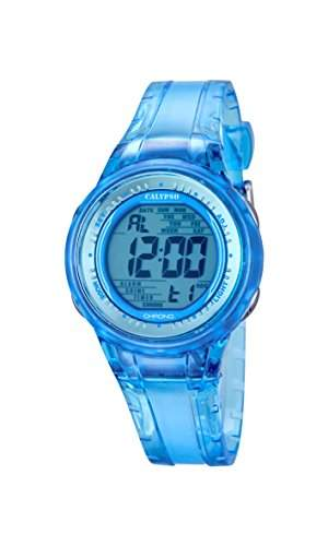 Calypso Damen-Armbanduhr Digital mit Blue Dial Digital Display und Blau Kunststoff Gurt k56881
