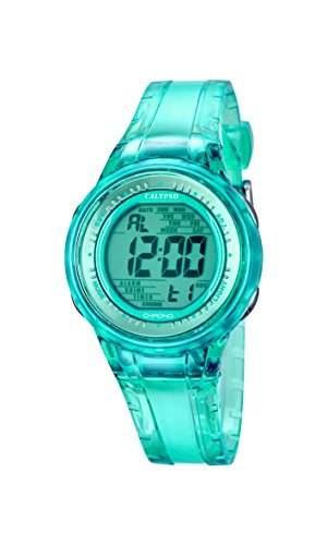 Calypso Damen-Armbanduhr Digital mit Tuerkis Zifferblatt Digital Display und Tuerkis Kunststoff Gurt k56884