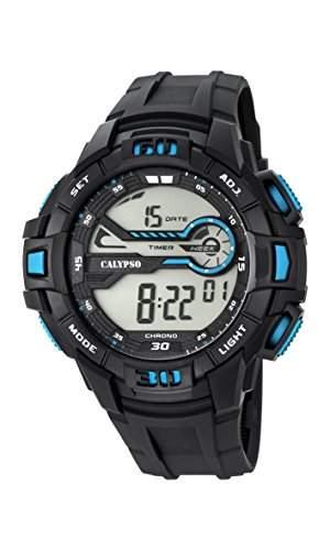 Calypso Herren Digitale Armbanduhr mit LCD Dial Digital Display und schwarz Kunststoff Gurt k56956