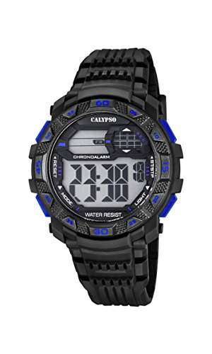 Calypso Herren Digitale Armbanduhr mit LCD Dial Digital Display und schwarz Kunststoff Gurt k57027