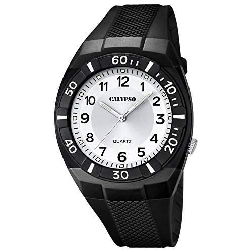 CALYPSO Kinder-Armbanduhr Fashion analog PU-Armband schwarz Quarz-Uhr Ziffernblatt silber UK52381