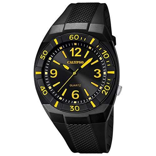 CALYPSO Kinder-Armbanduhr Fashion analog PU-Armband schwarz Quarz-Uhr Ziffernblatt schwarz gelb UK52385