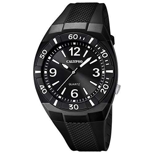CALYPSO Kinder-Armbanduhr Fashion analog PU-Armband schwarz Quarz-Uhr Ziffernblatt schwarz UK52388