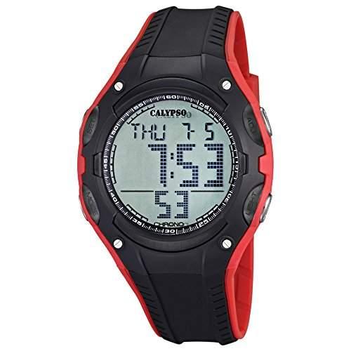 CALYPSO Herren-Armbanduhr Fashion Chronograph PU-Armband schwarz rot Quarz-Uhr Ziffernblatt grau UK56142
