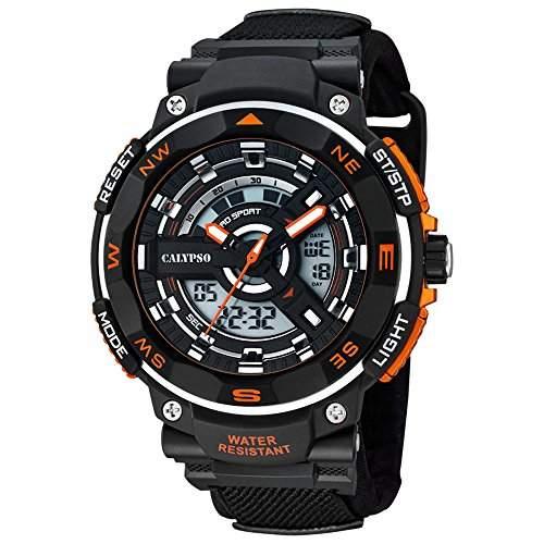 CALYPSO Herren-Armbanduhr Sport Chronograph Textil-Armband schwarz Quarz-Uhr Ziffernblatt schwarz orange UK56731
