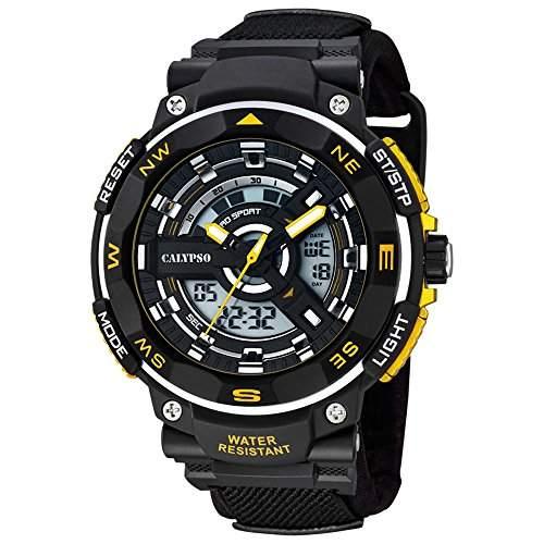 CALYPSO Herren-Armbanduhr Sport Chronograph Textil-Armband schwarz Quarz-Uhr Ziffernblatt schwarz gelb UK56732