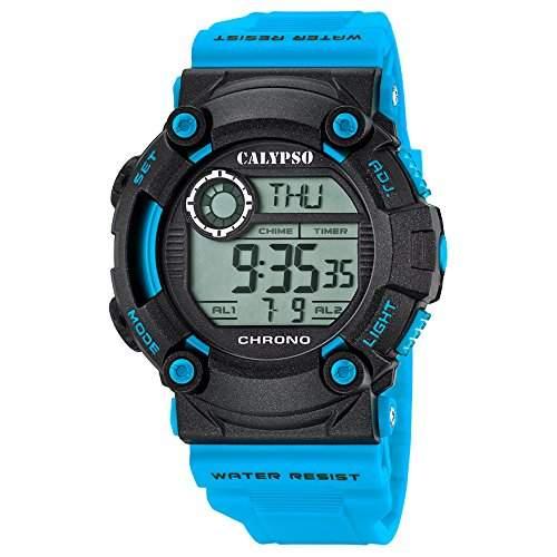 Calypso Herren-Armbanduhr Sport digital PU-Armband hellblau Quarz-Uhr Ziffernblatt schwarz UK56942
