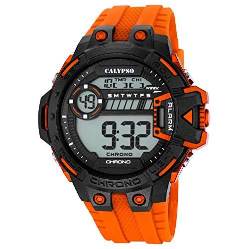 Calypso Herren-Armbanduhr Sport digital PU-Armband orange Quarz-Uhr Ziffernblatt schwarz orange UK56964