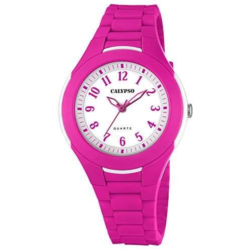 Calypso Damen Herren-Armbanduhr Fashion analog PU-Armband pink Quarz-Uhr Ziffernblatt weiss fuchsie UK57004