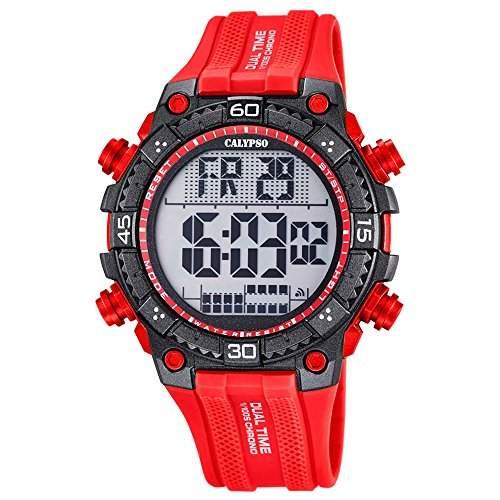 Calypso Herren-Armbanduhr Sport digital PU-Armband rot Quarz-Uhr Ziffernblatt rot schwarz UK57012