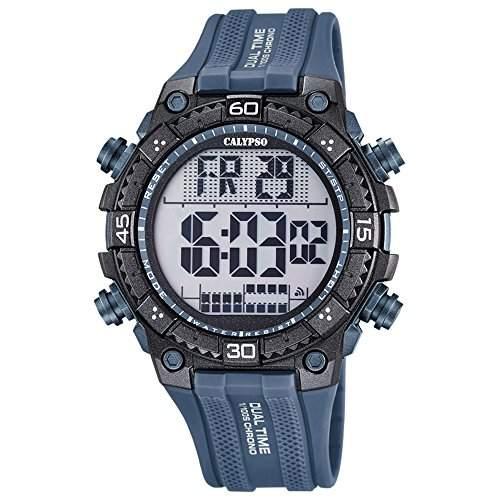Calypso Herren-Armbanduhr Sport digital PU-Armband grau Quarz-Uhr Ziffernblatt grau schwarz UK57014