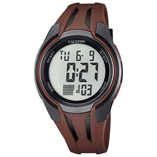 Calypso Herren-Armbanduhr Sport digital PU-Armband braun Quarz-Uhr Ziffernblatt braun UK57035