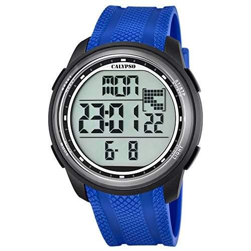 Calypso Herren-Armbanduhr Sport digital PU-Armband blau Quarz-Uhr Ziffernblatt schwarz UK57043