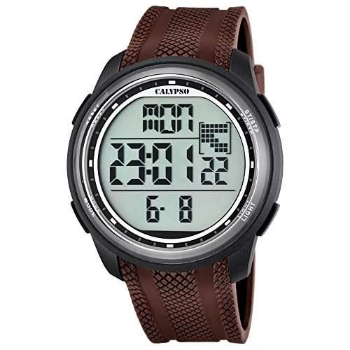 Calypso Herren-Armbanduhr Sport digital PU-Armband braun Quarz-Uhr Ziffernblatt schwarz UK57047