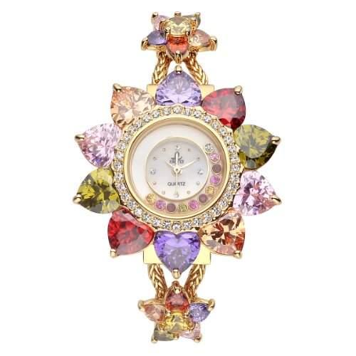 VIKI LYNN Armbanduhr voller Kristall mit Edelstahl Armband in Gold