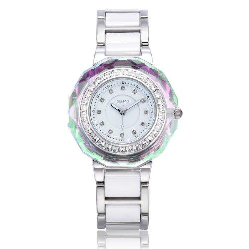 VIKI LYNN Armbanduhr voller oesterreichischen Kristallen mit Keramik Armband in Silber