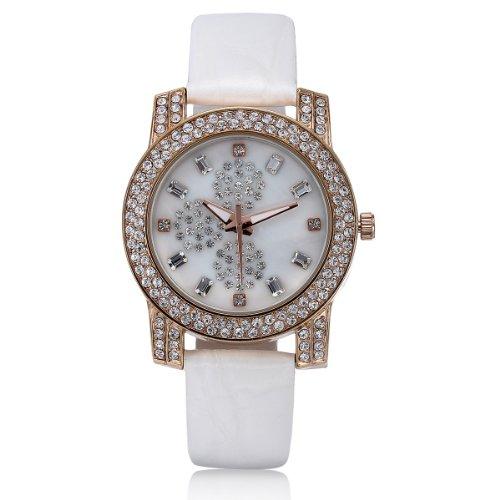 VIKI LYNN Armbanduhr voller oesterreichischen Kristallen mit Leder Armband in Weiss