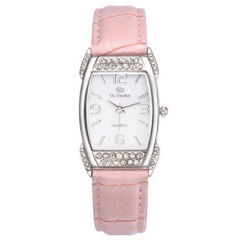 VIKI LYNN Armbanduhr voller oesterreichischen Kristallen mit PU Leder Armband in Pink