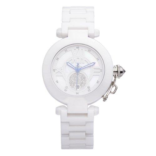 VIKI LYNN Armbanduhr voller oesterreichischen Kristallen mit Edelstahl Armband in Weiss